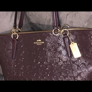 Coach Ava Embossed Tote Oxblood Color F38090
